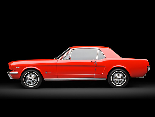 MST 01 RK1473 01 © Kimball Stock 1966 Ford Mustang Red Profile View In Studio