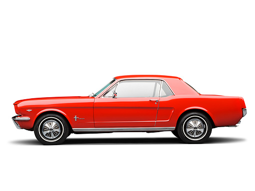 MST 01 RK1475 01 © Kimball Stock 1966 Ford Mustang Red Profile View On White Seamless
