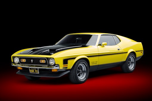 MST 01 RK1480 01 © Kimball Stock 1971 Ford Mustang Boss 351 Yellow 3/4 Front View In Studio