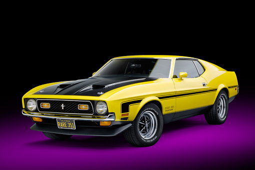 MST 01 RK1481 01 © Kimball Stock 1971 Ford Mustang Boss 351 Yellow 3/4 Front View In Studio