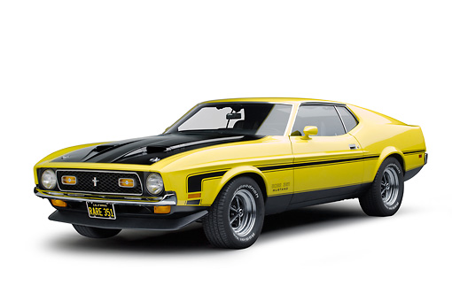 MST 01 RK1482 01 © Kimball Stock 1971 Ford Mustang Boss 351 Yellow 3/4 Front View On White Seamless