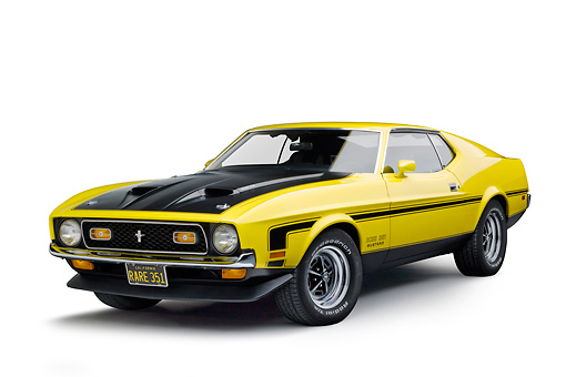 MST 01 RK1483 01 © Kimball Stock 1971 Ford Mustang Boss 351 Yellow 3/4 Front View On White Seamless