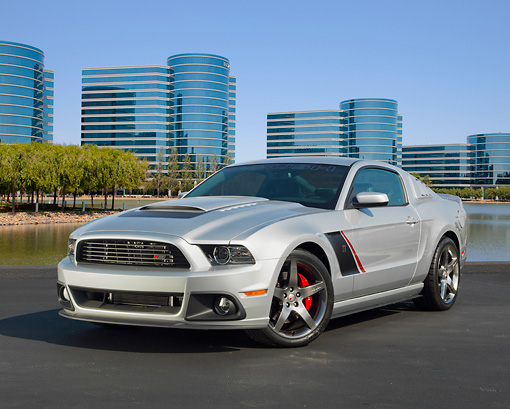 MST 01 RK1492 01 © Kimball Stock 2013 Ford Roush Stage 3 Mustang Silver 3/4 Front View On Pavement By Glass Buildings