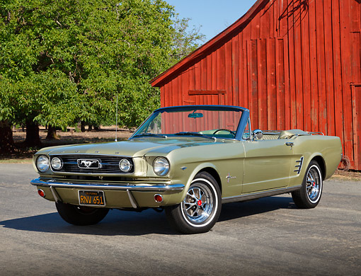 MST 01 RK1499 01 © Kimball Stock 1966 Ford Mustang Convertible Sauterne Gold 3/4 Front View On Pavement By Red Barn