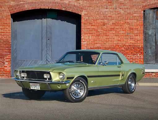 MST 01 RK1514 01 © Kimball Stock 1968 Ford Mustang GT/CS Lime Gold 3/4 Front View On Pavement By Brick Building