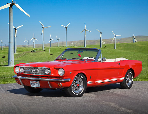 MST 01 RK1519 01 © Kimball Stock 1965 Ford Mustang GT Convertible Red 3/4 Front View On Pavement By Windmills