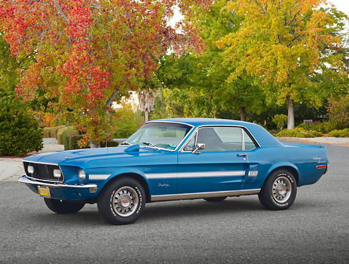 MST 01 RK1590 01 © Kimball Stock 1968 Ford Mustang GT/CS Acapulco Blue 3/4 Side View On Pavement By Autumn Trees