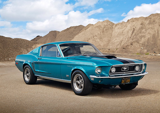 MST 01 RK1627 01 © Kimball Stock 1969 Ford Mustang Fastback Aqua Blue 3/4 Front View On Gravel By Dirt Hill