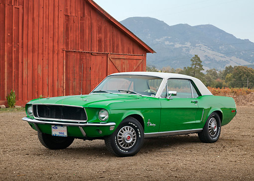 MST 01 RK1629 01 © Kimball Stock 1968 Ford Mustang GT CS Green With White Top 3/4 Front View On Dirt By Red Barn