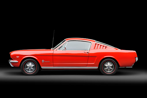 MST 01 RK1648 01 © Kimball Stock 1965 Ford Mustang Fastback Red Profile View In Studio