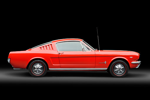 MST 01 RK1649 01 © Kimball Stock 1965 Ford Mustang Fastback Red Profile View In Studio