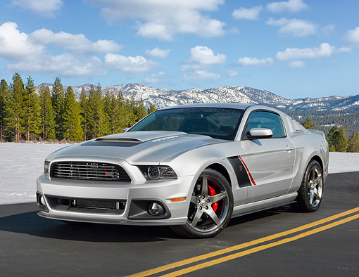MST 01 RK1653 01 © Kimball Stock 2013 Ford Roush Stage 3 Mustang Silver 3/4 Front View On Road By Mountains And Snow