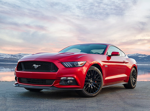 MST 01 RK1665 01 © Kimball Stock 2015 Ford Mustang GT Red 3/4 Front View By Icy Mountain Lake