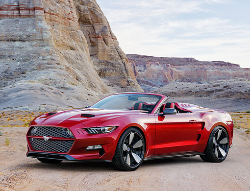 MST 01 RK1672 01 © Kimball Stock 2016 Ford Mustang Galpin Rocket Speedster Concept Red 3/4 Front View In Desert
