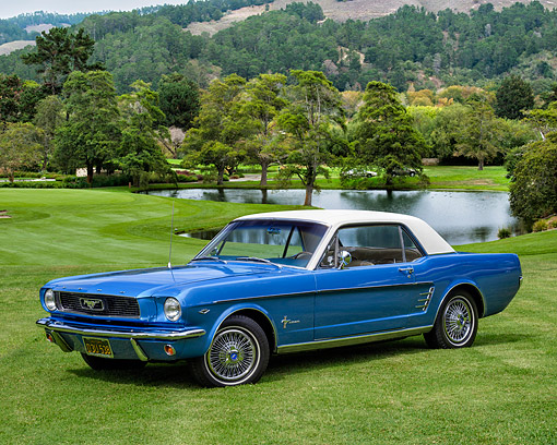 MST 01 RK1677 01 © Kimball Stock 1966 Ford Mustang Coupe Blue 3/4 Front View By Lake And Trees