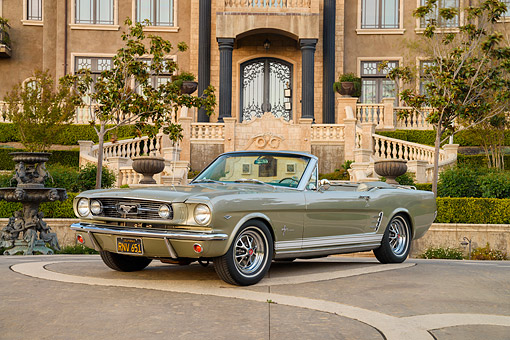 MST 01 RK1693 01 © Kimball Stock 1966 Ford Mustang 289 Sauterene Gold Convertible 3/4 Front View By Mansion