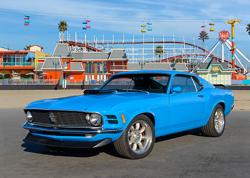 MST 01 RK1697 01 © Kimball Stock 1970 Ford Mustang Boss 302 Grabber Blue 3/4 Front View By Amusement Park