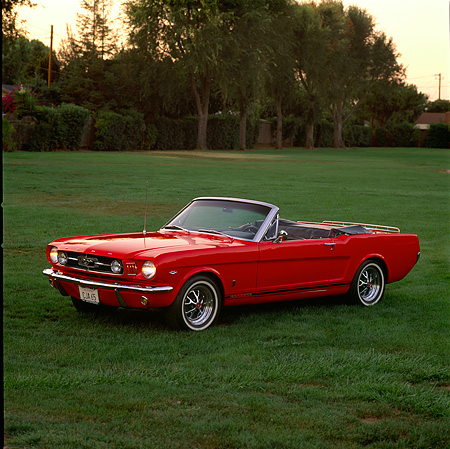 MST 01 RK0066 03 © Kimball Stock 1964 1/2 Ford Mustang Convertible Overhead 3/4 Front View On Grass By Water