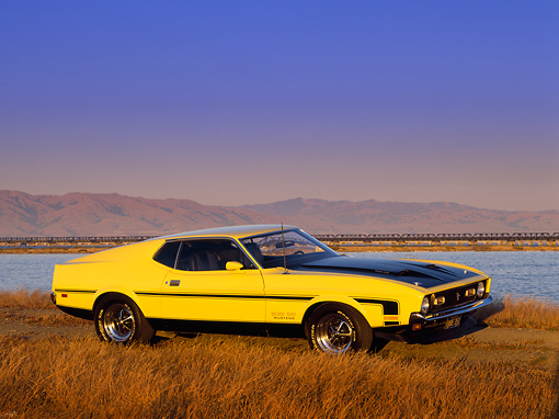 MST 01 RK0122 01 © Kimball Stock 1971 Ford Mustang Boss 351 Yellow And Black 3/4 Side View On Pavement