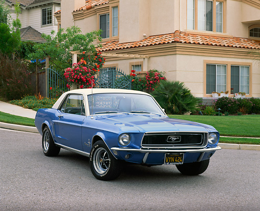 MST 01 RK0385 01 © Kimball Stock 1968 Ford Mustang Blue 3/4 Front View On Pavement