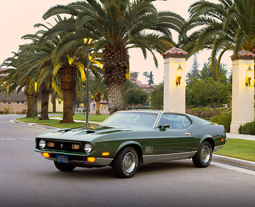MST 01 RK0417 02 © Kimball Stock 1972 Ford Mustang Mach I Green 3/4 Front View On Pavement