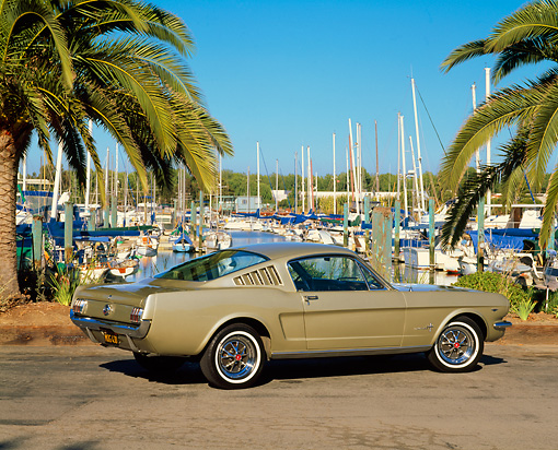MST 01 RK0454 01 © Kimball Stock 1965 Ford Mustang Fastback Honey Gold 3/4 Rear View On Pavement By Harbor