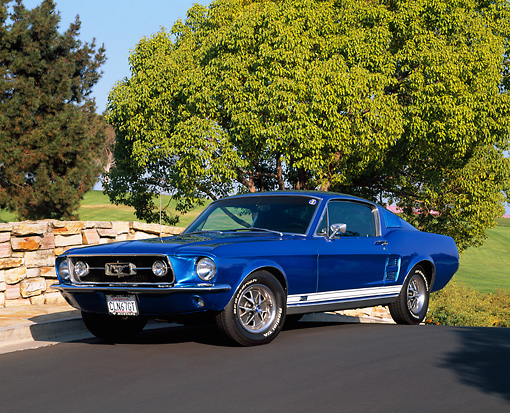 1967 Mustang GT Fastback Blue 3/4 View On Pavement