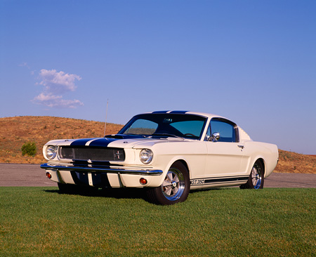 MST 01 RK0531 06 © Kimball Stock 1965 Ford Mustang Shelby GT350 White Blue Stripe 3/4 Front View On Grass Dry Grass Hill Blue Sky