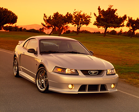 MST 01 RK0552 05 © Kimball Stock 2001 Roush Mustang Stage 3 Silver 3/4 Front View On Pavement By Grass And Trees Yellow Sky