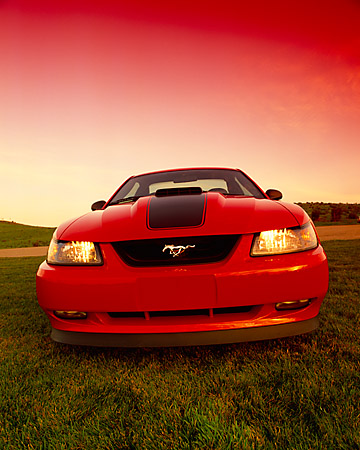 MST 01 RK0596 02 © Kimball Stock 2003 Ford Mustang Mach 1 Coupe Red Head On Low Wide Angle