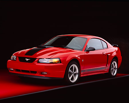 MST 01 RK0605 07 © Kimball Stock 2003 Ford Mustang Mach 1 Coupe Red 3/4 Front View Studio