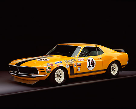 MST 01 RK0608 05 © Kimball Stock 1970 Ford Mustang Boss 302 Trans Am Race Car Orange