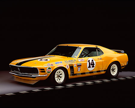 MST 01 RK0609 03 © Kimball Stock 1970 Ford Mustang Boss 302 Trans Am Race Car Orange