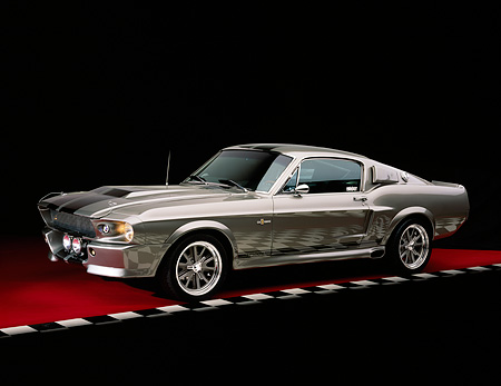 MST 01 RK0629 03 © Kimball Stock 1967 Ford Mustang Shelby GT500 Fastback Replica Silver With Black Stripes 3/4 Side View On Red Floor Checkered Line