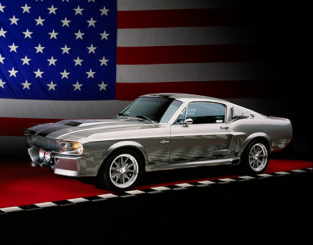 MST 01 RK0923 01 © Kimball Stock 1967 Ford Mustang Shelby GT500M Fastback Silver With Black Stripes 3/4 Front View Studio