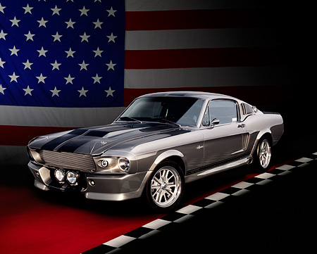 MST 01 RK0924 01 © Kimball Stock 1967 Ford Mustang Shelby GT500M Fastback Silver With Black Stripes 3/4 Front View Studio