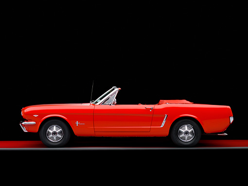 MST 01 RK0939 01 © Kimball Stock 1964 1/2 Ford Mustang Convertible Red Profile View Studio