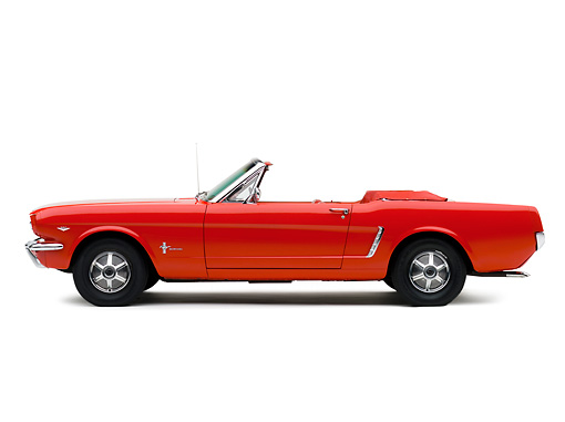 MST 01 RK0942 01 © Kimball Stock 1964 1/2 Ford Mustang Convertible Red Profile View Studio