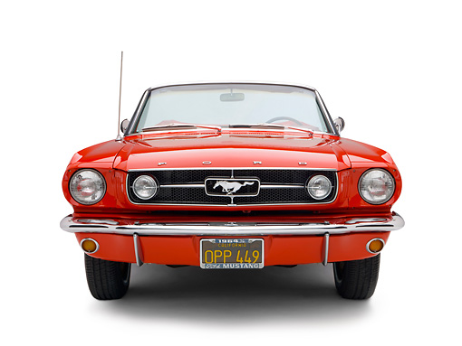 MST 01 RK0945 01 © Kimball Stock 1964 1/2 Ford Mustang Convertible Red Head On View Studio