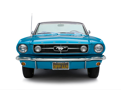 MST 01 RK0946 01 © Kimball Stock 1964 1/2 Ford Mustang Convertible Teal Head On View On White Seamless