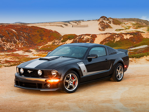 MST 01 RK0959 01 © Kimball Stock 2007 Ford 427 Roush Mustang Black 3/4 Front View On Sand