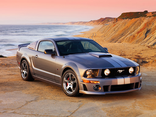 MST 01 RK0964 01 © Kimball Stock 2007 Ford Roush Mustang Stage 3 Gray 3/4 Front View On Sand