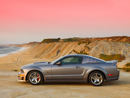 MST 01 RK0966 01 © Kimball Stock 2007 Ford Roush Mustang Stage 3 Gray Profile View On Sand