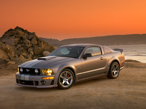 MST 01 RK0968 01 © Kimball Stock 2007 Ford Roush Mustang Stage 3 Gray 3/4 Side View On Sand