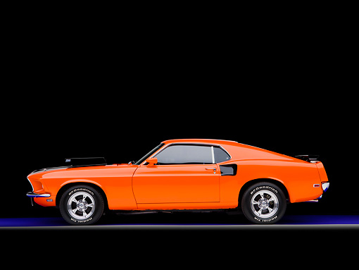 MST 01 RK1022 01 © Kimball Stock 1969 Ford Mustang Mach I Orange Profile View Studio