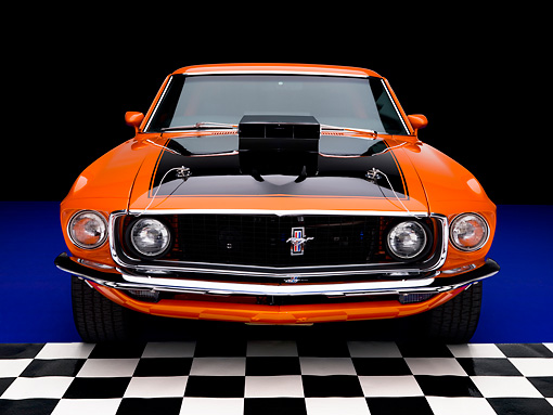 MST 01 RK1024 01 © Kimball Stock 1969 Ford Mustang Mach I Orange Head On View Studio