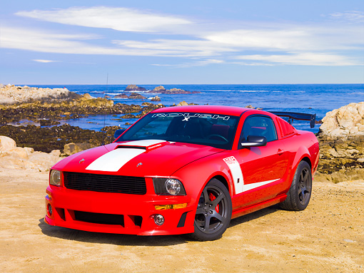 MST 01 RK1043 01 © Kimball Stock 2008 Roush Ford Mustang 427R Trak Pak Red 3/4 Front View By Ocean
