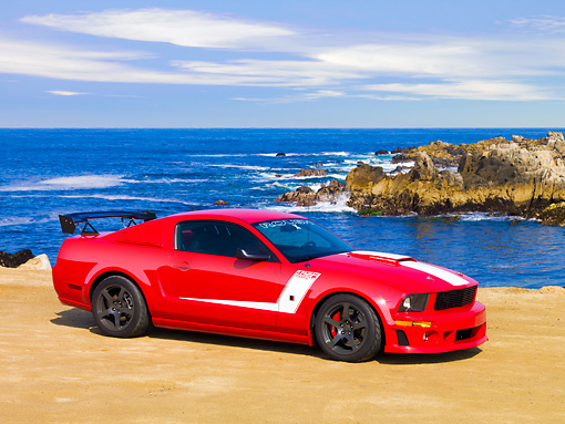 MST 01 RK1045 01 © Kimball Stock 2008 Roush Ford Mustang 427R Trak Pak Red 3/4 Front View By Ocean