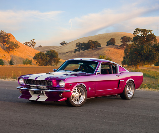 MST 01 RK1058 01 © Kimball Stock 1965 Ford Mustang Purple With White Stripes 3/4 Front View By Hills Trees