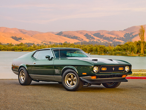 MST 01 RK1070 01 © Kimball Stock 1971 Ford Mustang Mach 1 429 SCJ Green 3/4 Front On Pavement By Lake